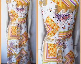 Vtg.60s Mod Psychedelic Vibrant Flower Geometric Print Maxi Dress.M/L.Bust 38-40.Waist 30-32