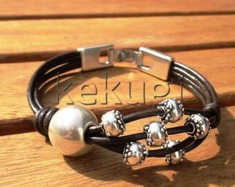 beads bracelets, beaded bracelets, women bracelet, silver bracelet, brown leather bracelet, exotic bracelet, exotic jewelry, silver jewelry