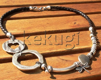 women abstract braided brown leather necklace with silver beads