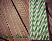 Paper Straws Vintage Style Party straws Striped Straws Grass Green