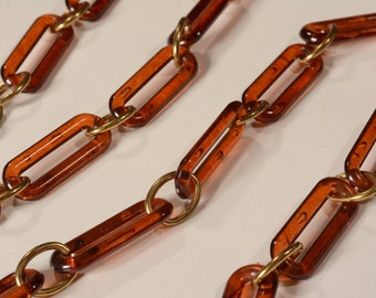 Vintage 1970s Boho Belt - Faux Amber Brass Links - Fall Fashions