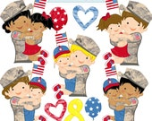 Soldier Hugs V2 Cute Digital Clipart for Commercial or Personal Use, Army Marines Clipart, Army Marines Graphics, Military
