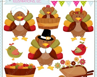 Pilgrim Turkeys Cute Thanksgiving Digital Clipart for Commercial or Personal Use, Thanksgiving Clipart, Turkey Clipart, Turkey Graphics