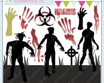 Rise of the Zombies - Zombie Clipart - Zombie Graphics - Commercial Use OK - Halloween Clipart - Halloween Graphics