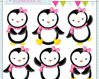 Girly Penguins Cute Digital Clipart - Commercial Use OK- Penguin Clipart, Penguin Graphics, Girl Penguin