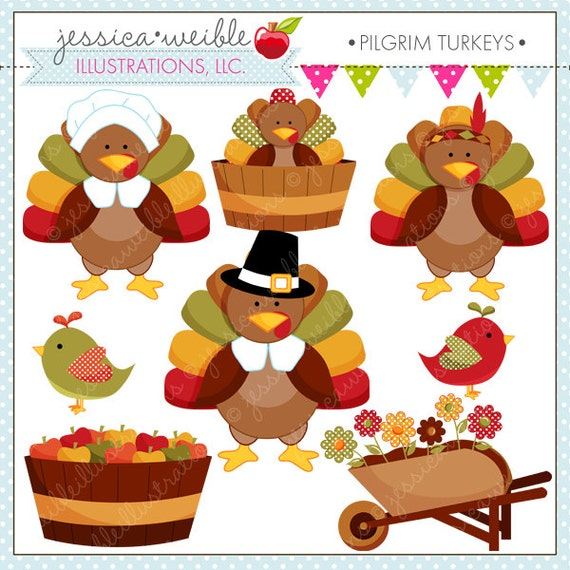 Pilgrim Turkeys Cute Thanksgiving Digital Clipart for Commercial ...