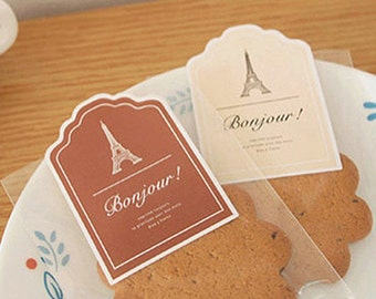 4 Lovely Label Stickers - Bonjour (1.8 x 2.5in)