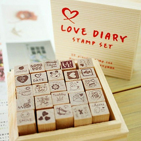 25 Set - Love Diary Cute Stamps Box (3.2 x 3.2in)