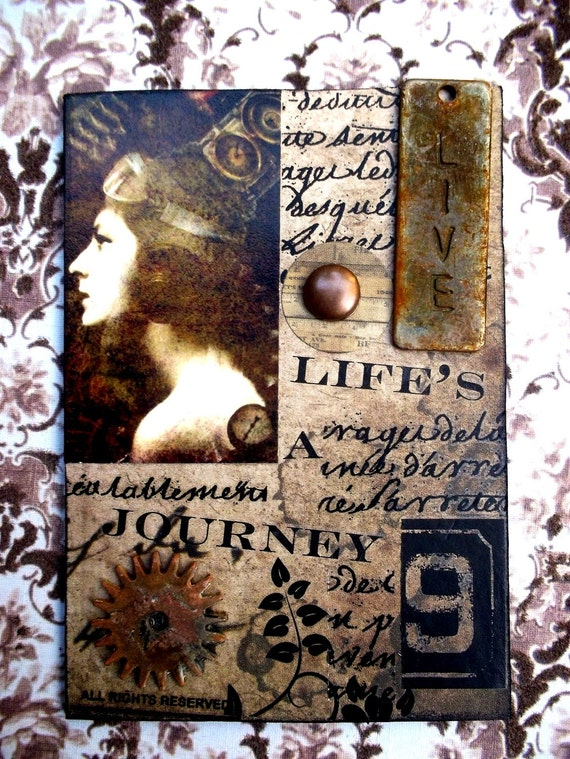 Life Is A Journey Steampunk Artist Trading Card  ACEO  Alteredhead On Etsy Artwork ATC Original Handmade Design On Etsy Artwork