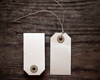 Set of 25 Manila Gift Tags-  2 3/4 x 1 3/8 inch   |  Wedding Favor Tags, Planner Tags, Journal Tags, Kraft Gift Tags, Clothing Tags