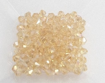 4mm Gold Champagne AB Chinese Crystal  Bicone Beads (50)