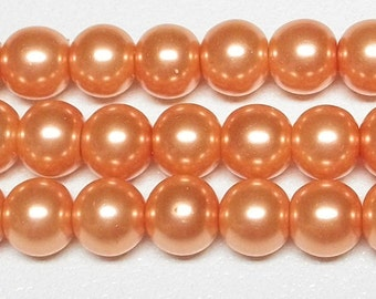 8mm Coral Glass Pearls 1 strand