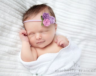 Felt Flower Headband in Lilac and Lavender - Felt Baby Headband - Lavender Baby Headband - Baby Headband, Newborn Headband, Toddler Headband