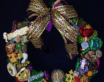 Festive Mardi Gras Wreath vintage krewe medallions