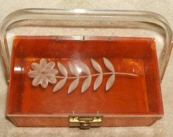 VINTAGE circa1950...Butterscotch & Clear BAKELITE Lucite Box Purse