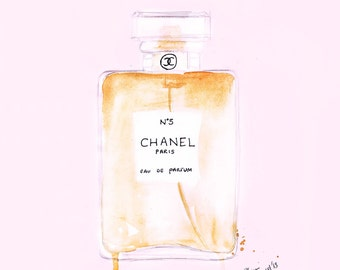 Watercolour Fashion illustration Titled Chanel No5