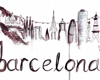 Watercolour Illustration Titled Barcelona Skyline