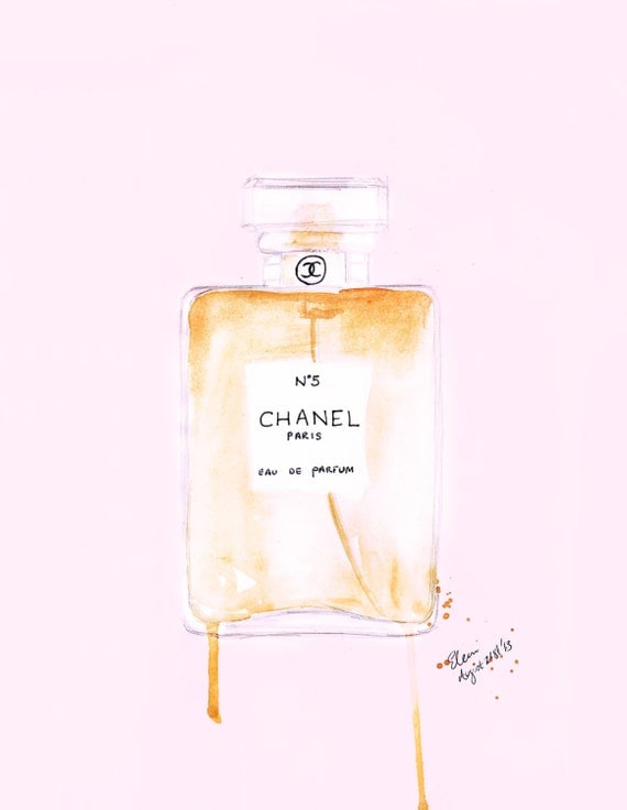 Watercolour Fashion illustration Titled Nothing but Chanel