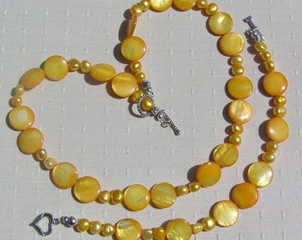 """Pearl Necklace & Bracelet Set, Yellow Freshwater Pearl and Yellow Mother of Pearl """"Joyful"""""""