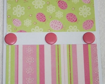 Pink and Lime Green Lady Bug All Occasion Card