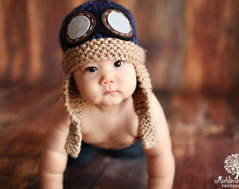 Baby Pilot Hat, Aviator, Navy Blue Hand Knit Knitted Photo Prop Newborn, Flying Ace Infant Helmet with Goggles,Over 15 Colors, NB 0-3 months