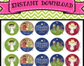 "Away in a Manger - Religious Christmas Nativity - INSTANT DOWNLOAD 1"" Bottle Cap Images 4x6 - 286"