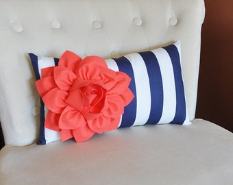 Coral Flower on Navy and White Stripe Lumbar Pillow