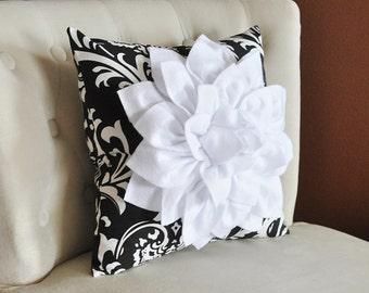 Decorative Pillows, Throw Pillows, White Dahlia Flower on Black - White Damask Pillow, Accent Pillow, Black Pillow,Pillow, Home Decor pillow