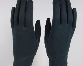 6-Vintage Dark Green dress/church gloves- 8 inches long(326g)