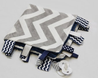 Baby Ribbon Tag Blanket - Minky Binky Blankie - Grey and White Chevron with Navy