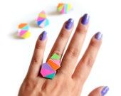 Geometric Ring, Colorful Leather Ring, Triangle Ring, Statement Ring, Neon Ring, Modern Ring, Rainbow Ring, Adjustable Ring, Cocktail Ring