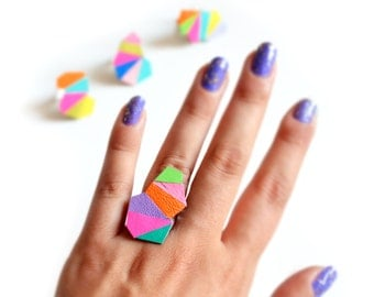 Geometric Statement Ring, Neon Leather Ring, Faceted Triangle Purple Kaleidoscope