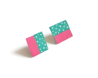 Square Post Stud Earrings, Geometric Earrings, Teal and Pink Polka Dot Pattern Jewelry