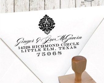 Return Address Stamp – 1.5 x 3 in NATALIE DAMASK – Personalized Custom Wedding Paper Goods