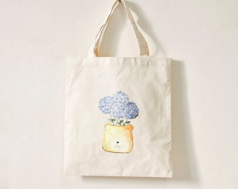 hydrangeas - school library or shopping tote bag