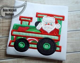 Santa Train Applique Embroidery Design