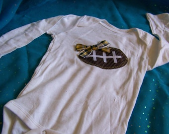Long Sleeve Yellow & Black Football Onesie (check for sizes)
