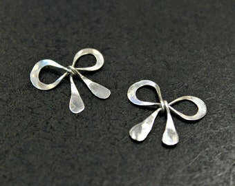 NEW! - 2 pcs - Antiqued Finish Sterling Silver Sweet Bow Charms - handmade - BC002