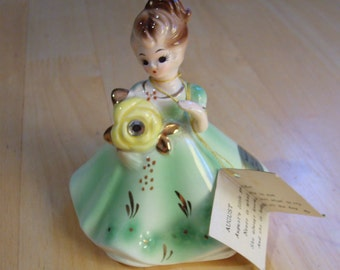 Ceramic Doll, Vintage Ceramic Doll, August Peridot by Joseph