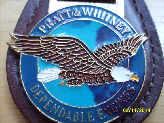 Pratt And Whitney Keychain Blue Brown Enamel Eagle By