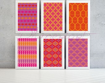 Geometric pattern wall print-pink oranges and reds 8x10 -Set of 6