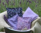 Lavender Pillow Sachets Set of 4, fabric, packaged as a gift set