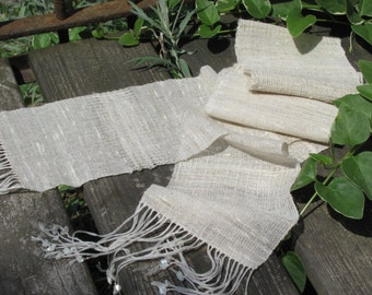 Simple Summer Fall Scarf, Rustic Woven Natural Cream White Linen Cotton Scarf, Wabi Sabi Lagom Minimalist Fashion Beach Cottage Chic Scarf