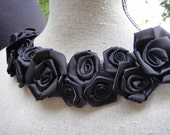 Black Tulle and Satin Neckline Applique Embellishment Necklace Black Roses Flowers S113