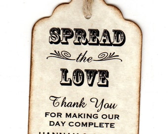 50 Personalized Spread The Love Wedding Favor Tags / Place Cards / Thank You Tags / Jam Jar Tags / Honey Jar Labels - Vintage Style