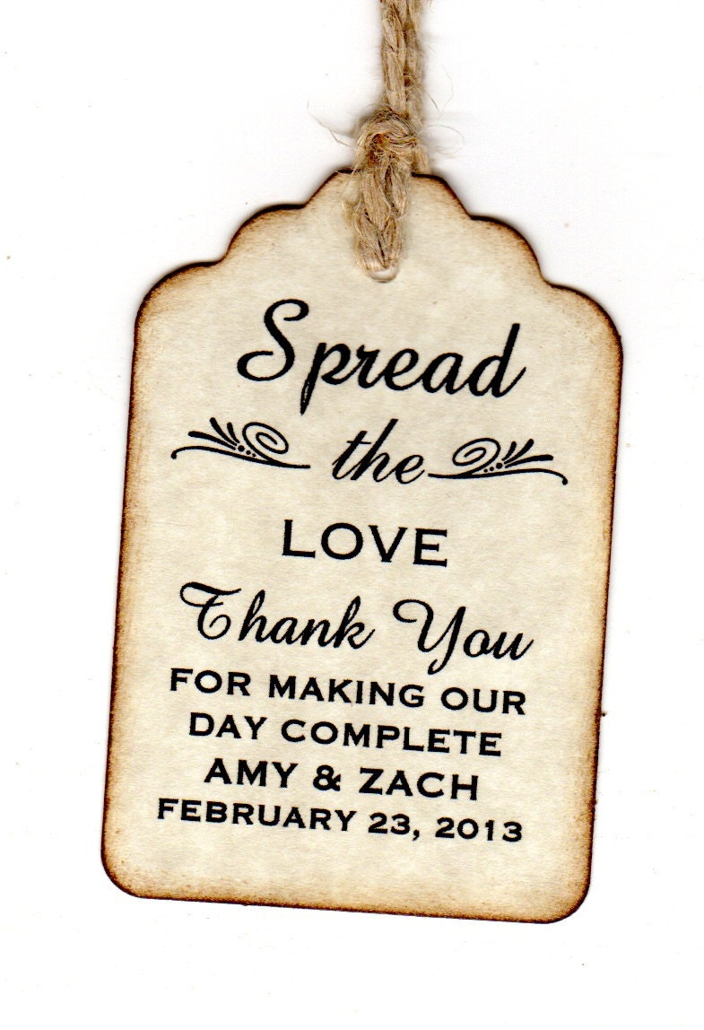 50 Personalized Spread The Love Wedding Favor Tags Place Card