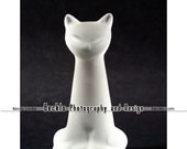 Vintage Retro Cat Statue photo Frosted Glass Siamese