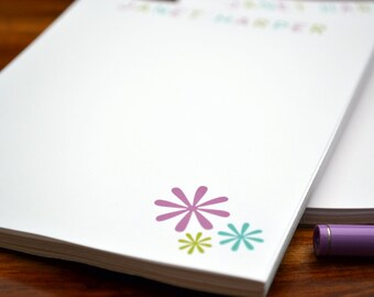 Personalized Notepads / Purple Geometric Notepads / Notebook / Personalized Note Pads/ Set of Notepads /  Set of 2 Astric Flowers