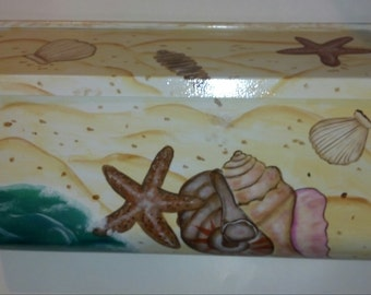 Wall mount Residential Hand Painted nautical MAILBOX , beach, Seashells,  UV Resistant Paints