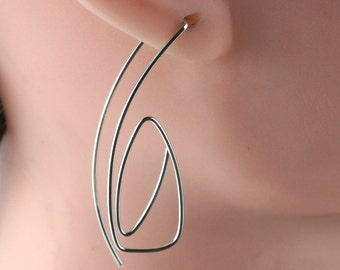 GEOMETRIC HOOP EARRING . sterling silver. argentium. gold filled. niobium. 2 inch long. modern. light weight  nickel free No.00105